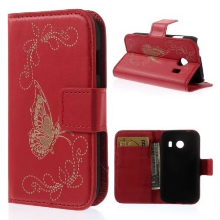 Etui for Galaxy Ace Style Butterfly Rød
