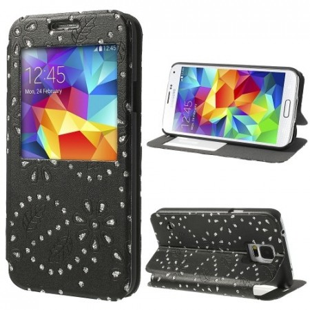 Slimbook for Samsung Galaxy S5 Glitter Blomst Svart