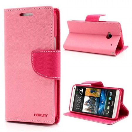 Lommebok Etui for HTC One (M8) Mercury Lys Rosa