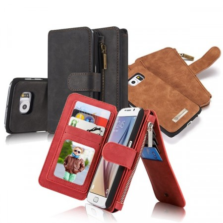 2i1 Etui m/kortlommer for Galaxy S6 Retro