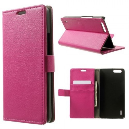Etui for Huawei Honor 6 Classic Lychee Mørk Rosa