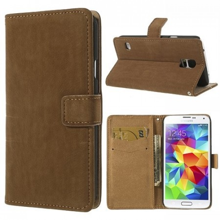 Lommebok Etui for Samsung Galaxy S5 Retro Lys Brun