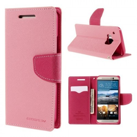 Etui m/kortlommer for HTC One M9 Mercury Lys Rosa