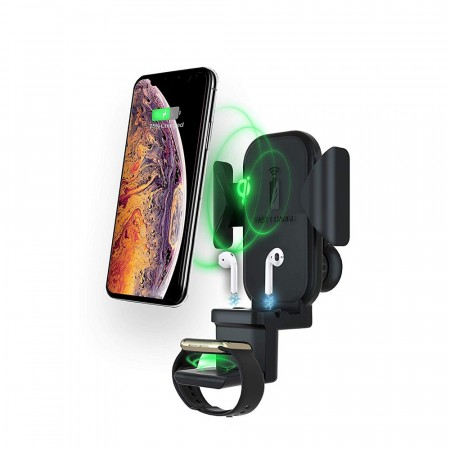 3i1 Trådløs Mobillader forBil iPhone/ AirPods/ Apple Watch