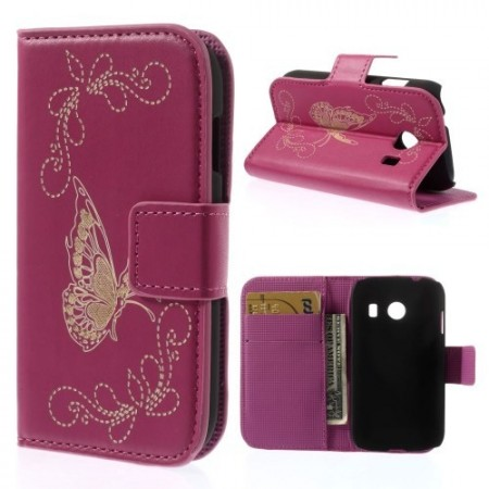 Etui for Galaxy Ace Style Butterfly Rosa