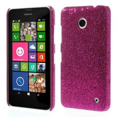 Deksel for Lumia 630 Glitter Mørk Rosa