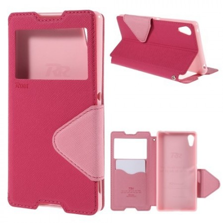 Etui m/skjermvindu for Sony Xperia Z3+ Roar Rosa
