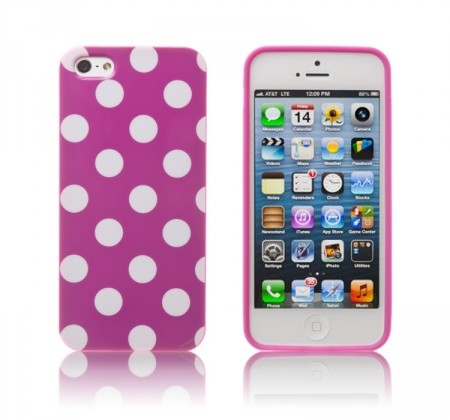 Deksel for iPhone 5 Polka Lilla/Hvit
