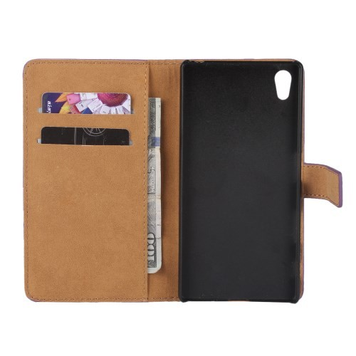 Lommebok Etui for Xperia Z5 Compact Genuine Brun