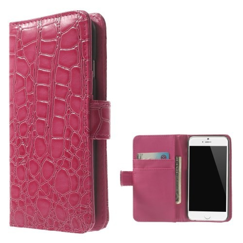 Etui for iPhone 6 Croco m/kortlommer Rosa