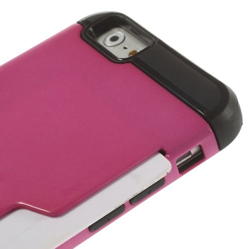 Deksel for iPhone 6 Robust m/kortlomme Rosa