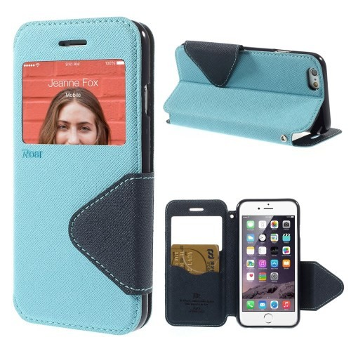Etui for iPhone 6 Roar m/Skjermvindu Lys Blå