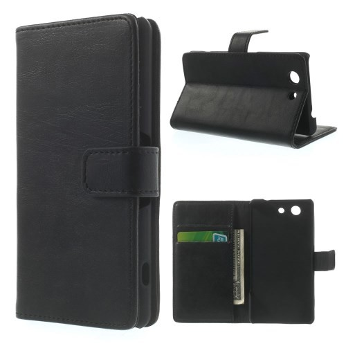 Lommebok Etui for Sony Xperia Z3 Compact Classic Svart