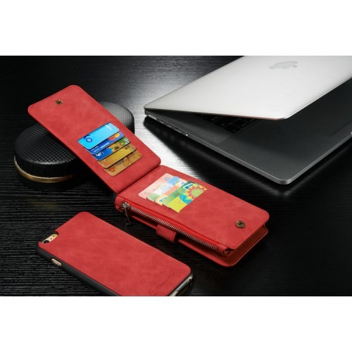 2i1 Etui m/kortlommer for iPhone 6/6s Retro Rød