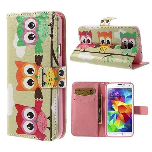 Lommebok Etui for Galaxy S5 Mini Ugle 3