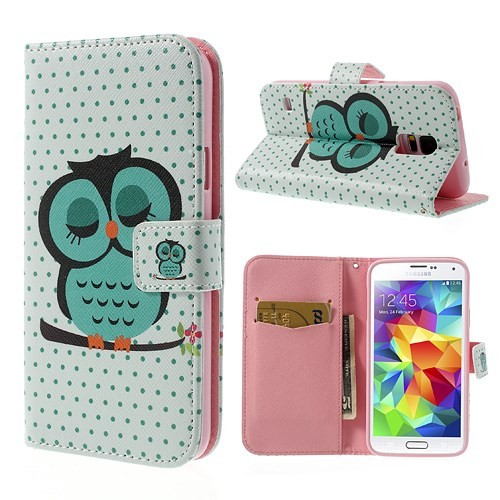 Lommebok Etui for Galaxy S5 Mini Ugle