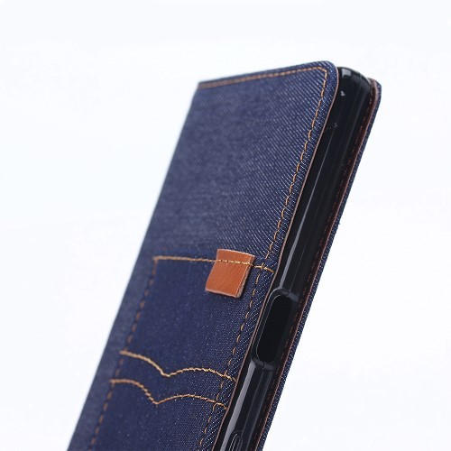 Etui for Sony Xperia X Performance Denim Pocket Mørk Blå