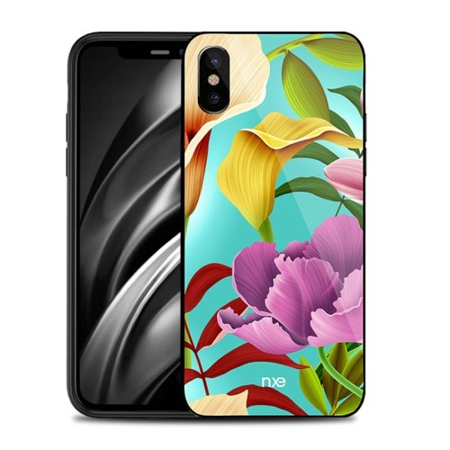 iPhone Xs/X 5,8 Deksel Flower Pink/Yellow