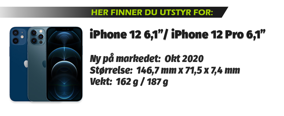 Utstyr for iPhone 12 6,1 og iPhone 12 Pro 6,1